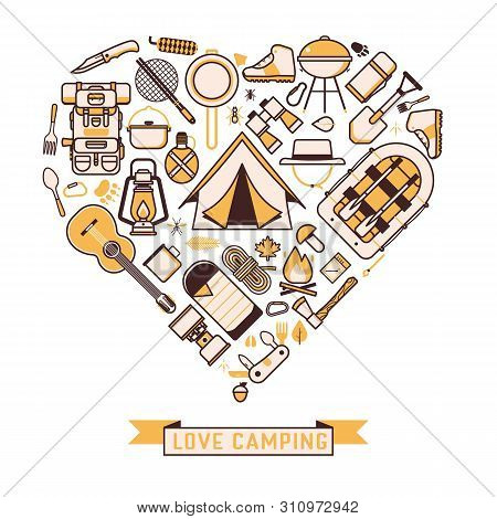 Camping And Hiking Wanderlust Icons Print Template