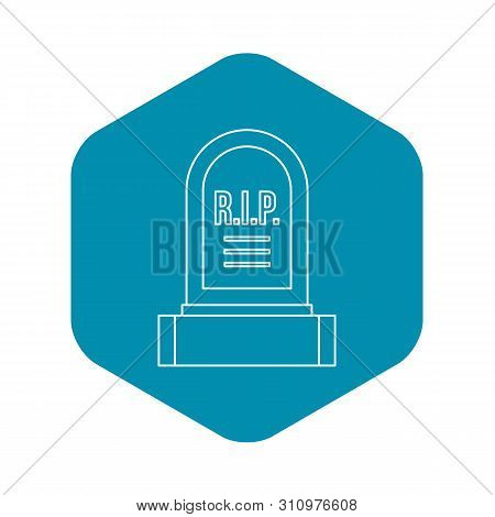 Headstone Icon. Outline Illustration Of Headstone Icon For Web