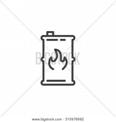 Fuel Barrel Line Icon. Linear Style Sign For Mobile Concept And Web Design. Kerosene Barrel Outline