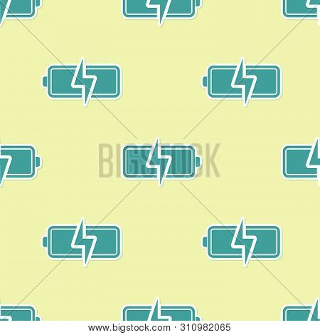 Green Battery Icon Isolated Seamless Pattern On Yellow Background. Lightning Bolt Symbol. Vector Ill
