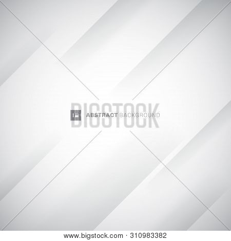 Abstract White And Gray Modern Diagonal Stripes Background. Paper Fold Crease. You Can Use For Cover