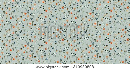 Flowers Vintage Colors Seamless Vector Pattern. Small Meadow Flower Plants Fabric Textile Print Pale