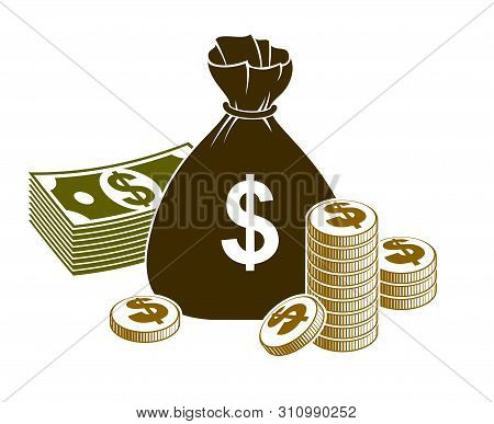 Cash Money Still-life With Moneybag Bag Coins And Banknote Dollar Stack, Classic Style Vector Illust