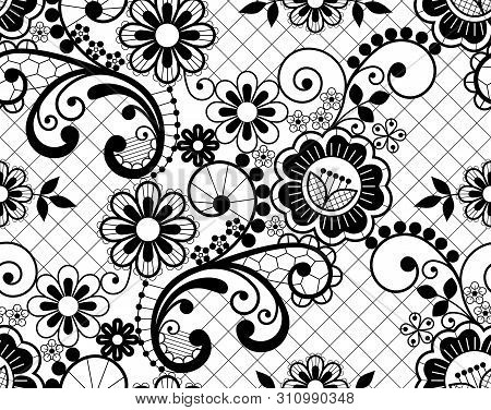 Seamless lace retro vector pattern - detailed repetitive design with flowers and swirls, ornamental background in black on white poster