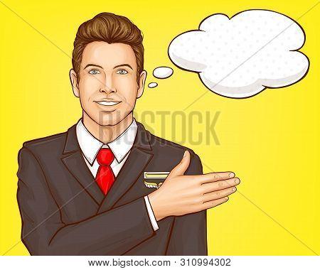 Airline Company Advertising Pop Art Vector Banner Template. Smiling Male Flight Attendant, Steward I