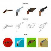 Vector illustration of revolver and pistol icon. Set of revolver and trigger stock vector illustration. poster