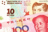 A ten peso bill from Argentina, close up in macro with a red, one hundred yuan Chinese renminbi bank note poster
