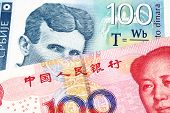 A blue one hundred Serbian dinar bank note, close up in macro with a red, Chinese renminbi one hundred yuan bank note poster