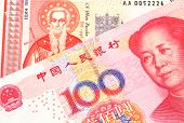 A Bulgarian one lev bank note with a red one hundred yuan renminbi Chinese bank note close up in macro poster