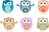 Set of six vector cartoon owls with various emotions poster