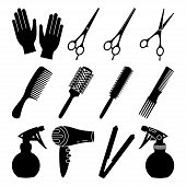 12 black and white hairdresser tools. Beauty salon equipment. Hair dresser themed vector illustration for icon, stamp, label, certificate, brochure, leaflet, poster or banner decoration poster