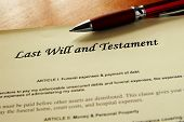 closeup of a Last Will and Testament document poster