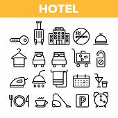Hotel Accommodation, Room Amenities Vector Linear Icons Set. Hostel Services And Possibilities, All Inclusive Lineart Design. Apartment, Hotel Booking And Reservation Features Thin Line Illustration poster
