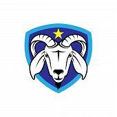 vector goat head logo, goat logo farm, agriculture logo, esport logo, animal head icon, livestock logo, shield  circle logo. black color isolated don white background poster
