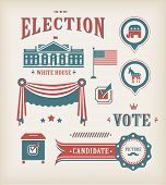 Vector USA election vintage icon set for charts and designs poster