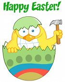 Happy Easter Text Above A Chick Peeking Out Of An Easter Egg With Hammer poster