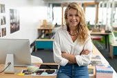 Portrait of Caucasian female graphic designer with arms crossed sitting at desk in a modern office. This is a casual creative start-up business office for a diverse team poster