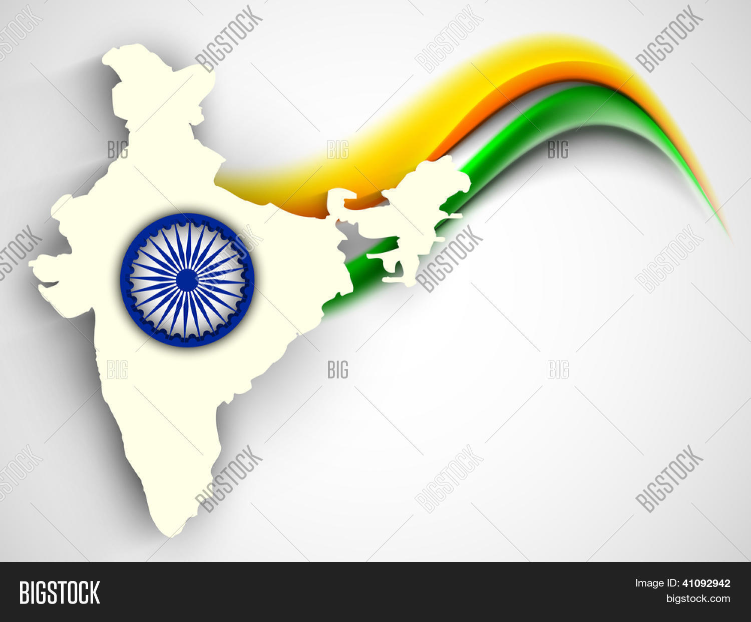Creative Watercolor Indian Flag Background For Indian: India Map On National Flag Color Vector & Photo