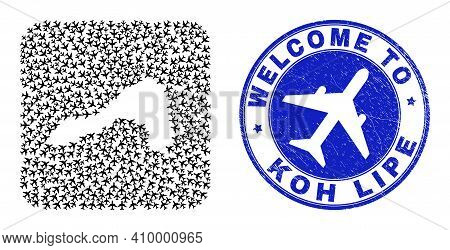 Vector Mosaic Koh Lipe Map Of Air Plane Items And Grunge Welcome Stamp. Collage Geographic Koh Lipe