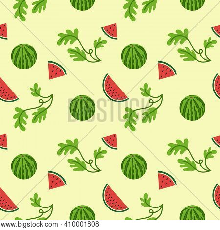 National Watermelon Day In The United States. Seamless Endless Background And Pattern With Watermelo