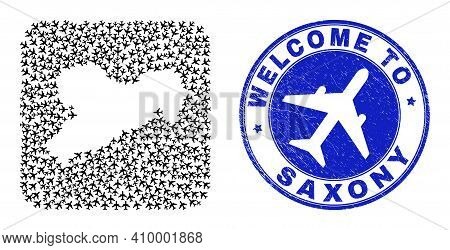 Vector Mosaic Saxony Land Map Of Sky Jet Elements And Grunge Welcome Seal Stamp. Mosaic Geographic S