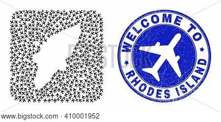 Vector Mosaic Rhodes Island Map Of Air Fly Items And Grunge Welcome Badge. Mosaic Geographic Rhodes
