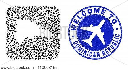 Vector Mosaic Dominican Republic Map Of Sky Jet Items And Grunge Welcome Seal Stamp. Collage Geograp