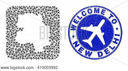 Vector Collage New Delhi City Map Of Airline Elements And Grunge Welcome Seal Stamp. Collage Geograp