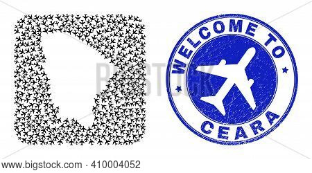 Vector Collage Ceara State Map Of Air Shipping Items And Grunge Welcome Stamp. Collage Geographic Ce