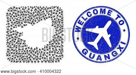 Vector Mosaic Guangxi Province Map Of Sky Jet Items And Grunge Welcome Stamp. Mosaic Geographic Guan