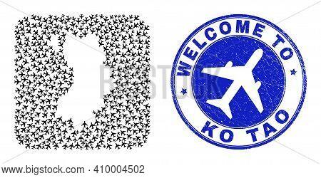 Vector Mosaic Ko Tao Map Of Aero Items And Grunge Welcome Badge. Mosaic Geographic Ko Tao Map Design
