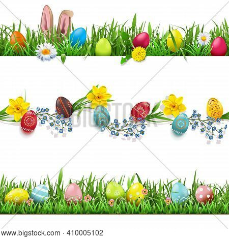 Vector Easter Borders Set Isolated On White Background