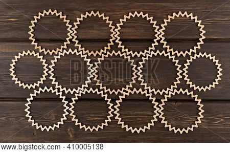 Background Of Carved Wooden Circles. Beautiful Vintage Wood Patterns. Laser Wood Carving.