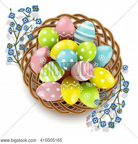 Vector Easter Eggs With Wicker Dish Isolated On White Background