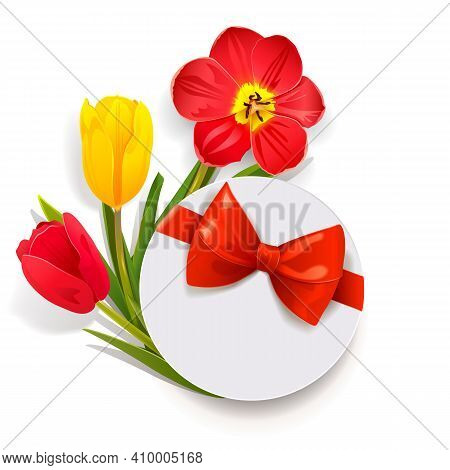 Vector Gift Box With Tulips Isolated On White Background