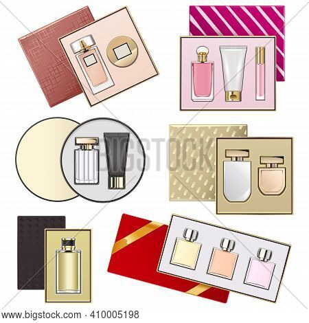 Vector Gift Boxes With Perfumery Set 2 Isolated On White Background