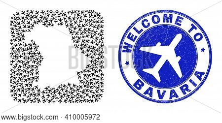 Vector Mosaic Bavaria Land Map Of Aircraft Items And Grunge Welcome Seal Stamp. Mosaic Geographic Ba