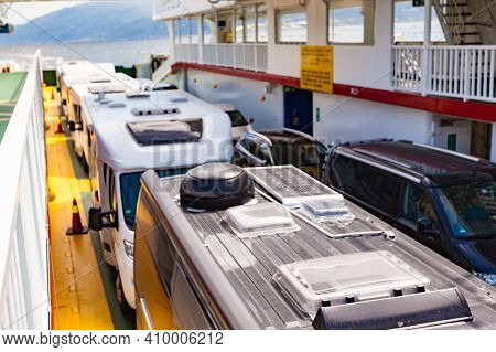 Caravans And Cars On Ferryboat Deck In Norway, Scandinavia Europe. Tourism Vacation And Travel With