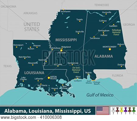 Vector Of Alabama, Louisiana And Mississippi States Of United States With Large Cities
