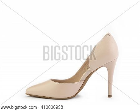 Classic And Elegant High-heeled Women Shoes. Minimalist And Stylish Beige Shoes On High Heels. Isola