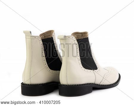 White Leather Chelsea Boots With Black Elasticated Side Details, Pattern Details And Black Rubber So