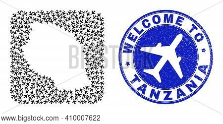 Vector Mosaic Tanzania Map Of Air Plane Items And Grunge Welcome Stamp. Collage Geographic Tanzania