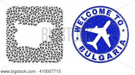 Vector Collage Bulgaria Map Of Air Shipping Items And Grunge Welcome Stamp. Collage Geographic Bulga