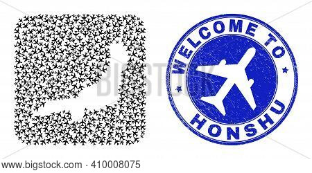 Vector Mosaic Honshu Island Map Of Tourism Items And Grunge Welcome Badge. Mosaic Geographic Honshu