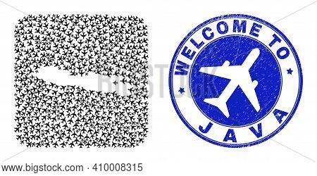 Vector Collage Java Island Map Of Aviation Elements And Grunge Welcome Seal Stamp. Collage Geographi