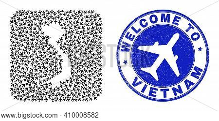 Vector Mosaic Vietnam Map Of Airflight Elements And Grunge Welcome Seal Stamp. Collage Geographic Vi