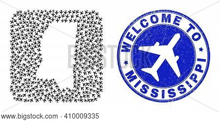 Vector Collage Mississippi State Map Of Air Plane Elements And Grunge Welcome Badge. Collage Geograp