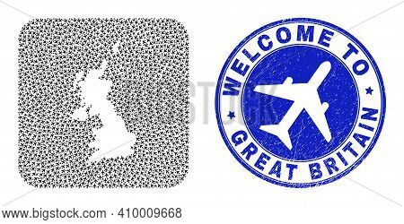 Vector Mosaic United Kingdom Map Of Airline Elements And Grunge Welcome Seal. Mosaic Geographic Unit