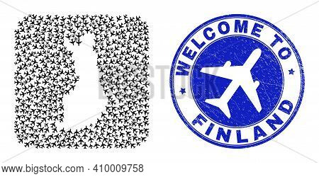 Vector Mosaic Finland Map Of Air Vehicle Items And Grunge Welcome Seal Stamp. Mosaic Geographic Finl