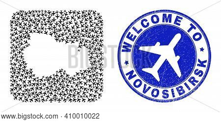 Vector Mosaic Novosibirsk Region Map Of Air Vehicle Items And Grunge Welcome Stamp. Mosaic Geographi